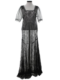 1930's Womens Little Black Cocktail Maxi Dress Overlay