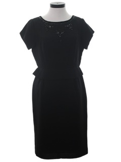 1950's Womens New Look Little Black Cocktail Dress