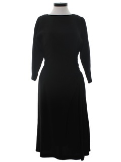 1940's Womens Designer Little Black Cocktail Dress