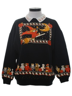 1980's Womens Cheesy Ugly Halloween Sweatshirt