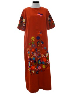 1960's Womens Maxi Hippie Dress