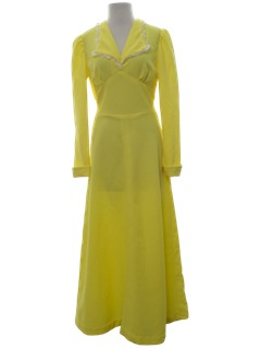 1960's Womens Knit Prom/Cocktail Style Maxi Dress