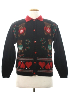 1980's Womens Bear-riffic Country Kitsch Ugly Christmas Sweater
