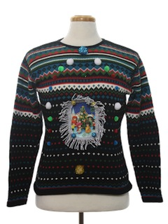 1990's Womens Hand Embellished Ugly Christmas Sweater