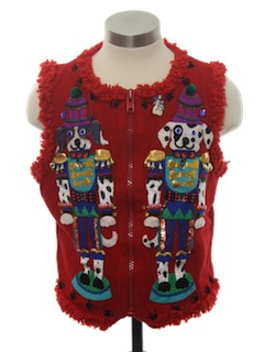 1990's Womens Designer Dog-Gonnit Ugly Christmas Sweater Vest
