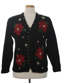 1980's Womens Ugly Christmas Cardigan Cocktail Sweater