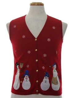 1990's Womens Ugly Christmas Sweatshirt Vest