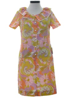 1960's Womens Mod Pow-Flower A-line House Dress