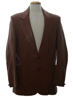 1980's Mens Leather Western Style Blazer Sport Coat Jacket