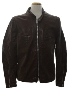 1960's Mens Mod Leather Cafe Racer Style Jacket