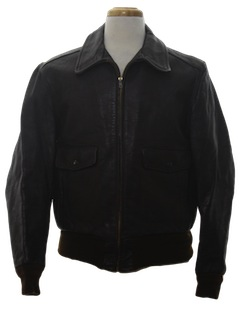 1960's Mens Leather Bomber Style Jacket