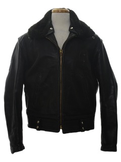 1960's Mens Leather Police Motorcycle Biker Jacket