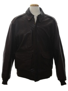 1980's Mens Leather Aviator Style Bomber Jacket