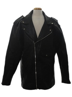 1980's Mens Totally 80s Leather Motorcycle Style Jacket