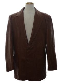1970's Mens Leather Western Style Blazer Sport Coat Jacket