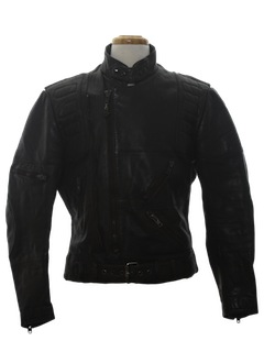 1970's Mens Cafe Racer Style Leather Motorcycle Jacket