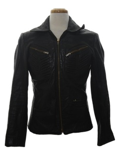 1980's Mens Motorcycle Style Leather Jacket