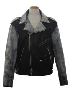 1980's Mens Punk Rock Style Leather Motorcycle Jacket