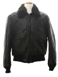 1980's Mens Aviator Style Leather Jacket