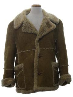 1970's Mens Shearing Leather Coat Jacket