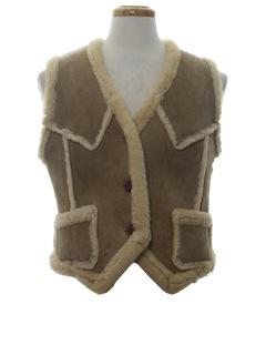 1970's Womens Shearling Leather Vest