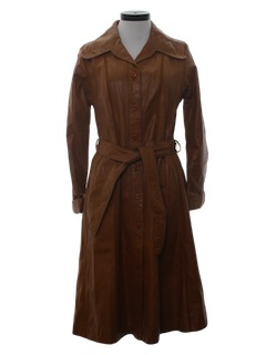 1970's Womens Leather Trench Coat Style Jacket