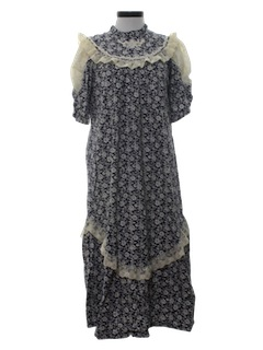 1970's Womens Hawaiian Prairie Style Plantation Maxi Dress