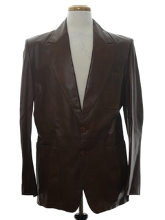 1970's Mens Leather Blazer Sport Coat Jacket