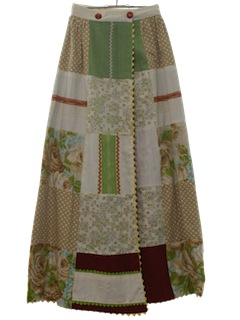 1970's Womens Patchwork Hippie Skirt