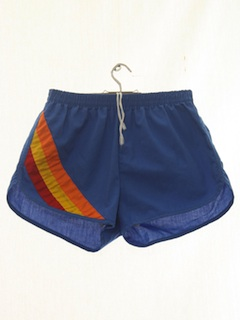 1980's Mens Totally 80s Rainbow Swim Shorts