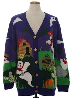 1980's Womens Kitschy Ugly Halloween Sweater