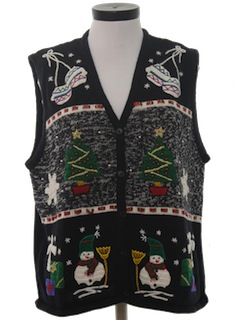 1980's Womens Ugly Christmas Sweater Vest.
