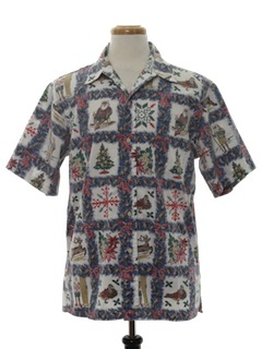 1980's Mens Reverse Print Hawaiian Ugly Christmas Shirt