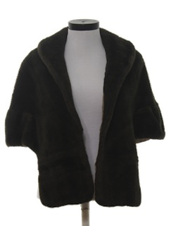 1950's Womens Fake Fur Shawl Style Cocktail Jacket