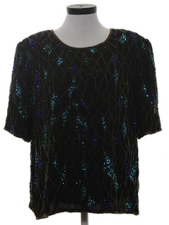 1980's Womens Totally 80s Beaded Cocktail Shirt