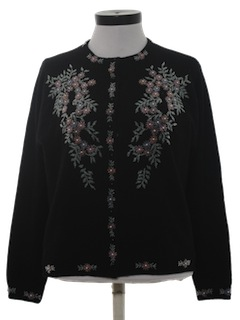 1960's Womens Beaded Cocktail Cardigan Sweater