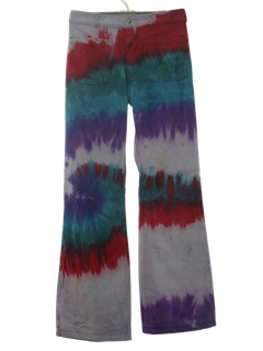 1970's Mens Multicolored Tie Dyed Christmas Colors Navy Issue Bellbottom Jeans Pants
