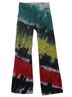 1970's Mens Multicolored Tie Dyed Navy Issue Bellbottom Jeans Pants