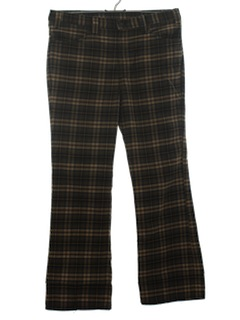 1970's Mens Plaid Jeans-Cut Pants
