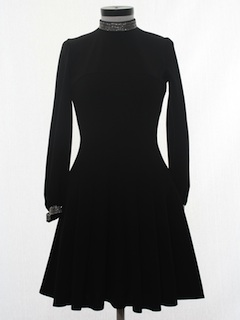 1960's Womens Little Black Mini Knit Cocktail Dress