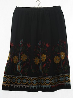 1980's Womens Embroidered Hippie Skirt