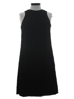 1960's Womens Little Black Mod Cocktail Dress