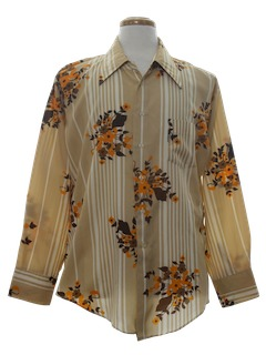 1970's Mens Print Disco Style Polyester Shirt