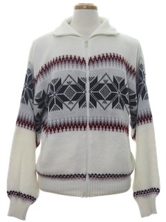 1980's Mens Totally 80s Snowflake Ski Sweater Jacket