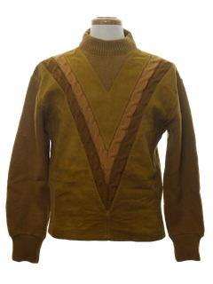 1960's Mens Mod Wool Leather Panel  Sweater