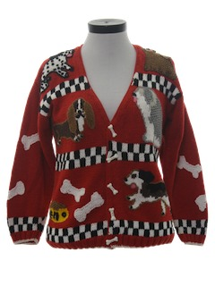 1980's Womens Canine Knit Sweater