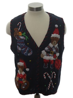 1980's Womens or Girls Ugly Bear-riffic Christmas Sweater Vest