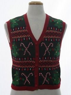 1980's Womens Ugly Christmas Vintage Sweater Vest