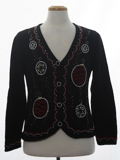 1990's Womens Ugly Christmas Cardigan Cocktail Sweater