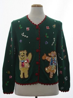 1980's Womens Winnie The Pooh and Tigger Too Ugly Christmas Sweater